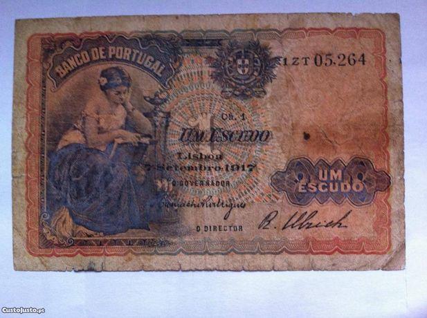 Nota Portugal 1 escudo 1917