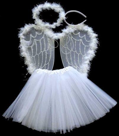 Strój anioł kostium anioła skrzydła spódniczka aureola