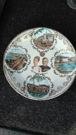 Porcelanowy talerzyk ko para książęca Monaco