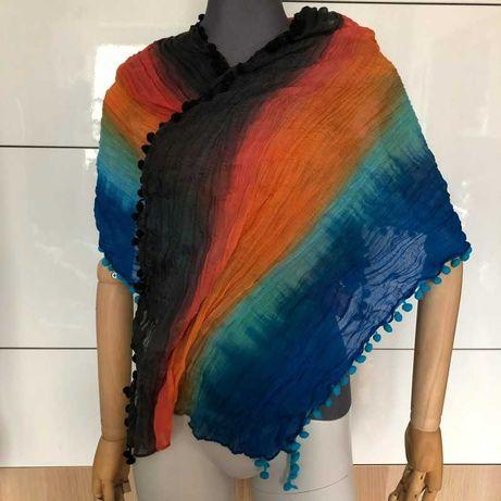 Kolorowa apaszka szal szalik z pomponikami