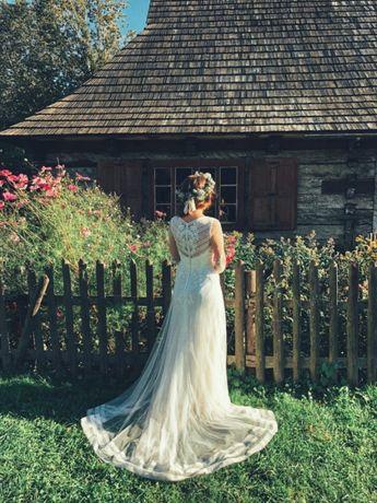 Suknia rustykalna boho Lilian West S M ivory ślub ślubna Justin Alex