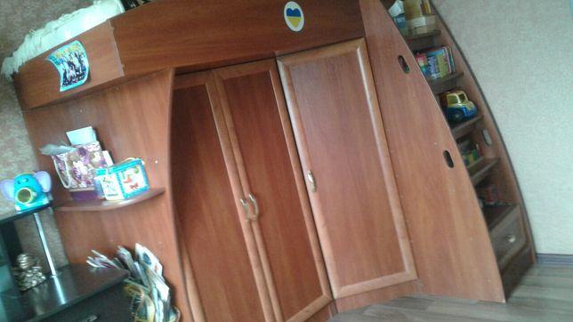 кровать детская двухярусная шкаф ліжко кровать-чердак