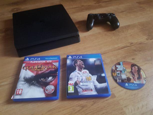 PS4 Slim 1TB stan IDEALNY + Oryg PAD + GTA5 + FIFA18 + God of War