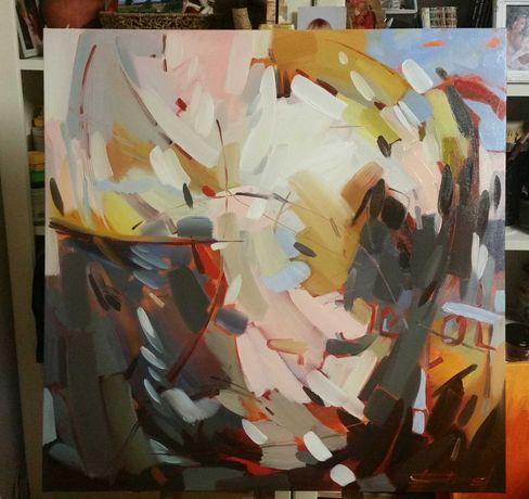 """Quadro """"Abstracto """" óleo sobre tela, dimensões 80×80 cm."""