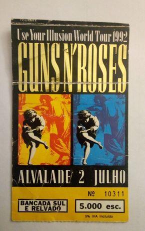 Bilhete concerto Guns'N'Roses  - 1992