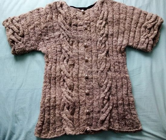 nowy sweter /tunika z wełny owczej, robiony ręcznie na drutach