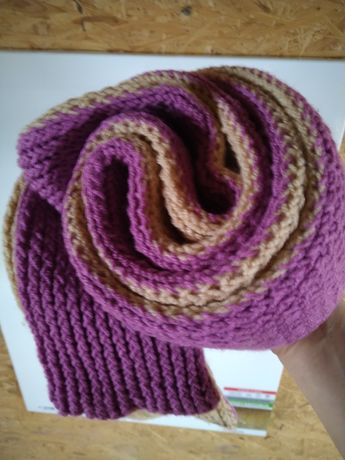 Толстый теплый длинный 230 см шарф двойной двухцветный вязаный ручная