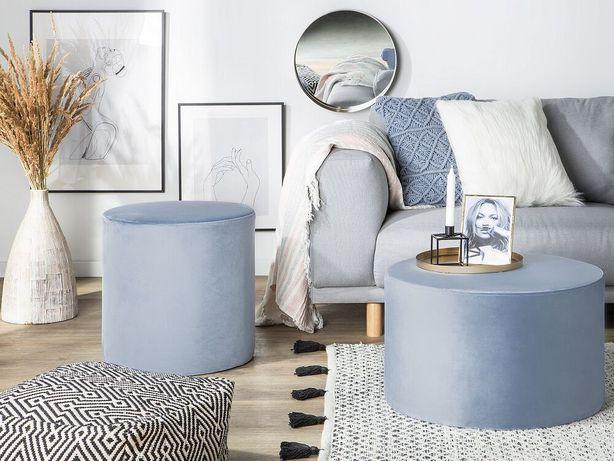 Puff em veludo azul claro LOVETT - Beliani