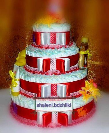 Торт из памперсов,подгузники, подарок ребёнку, для новорожденных