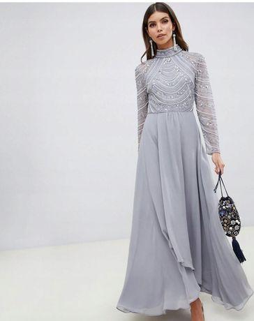 Sukienka bogato zdobiona maxi szara Asos