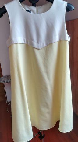 Sukienka jasnożółto-biała