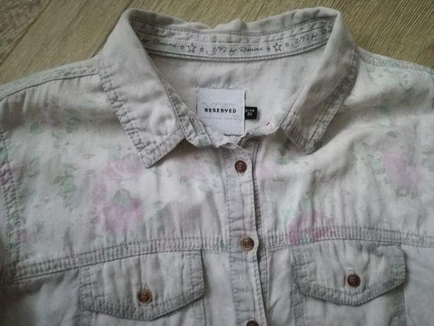 Bardzo modna szara koszula Reserved w kwiaty 36