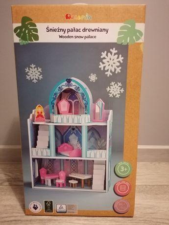 Nowy Śnieżny pałac drewniany z akcesoriami/domek dla lalek
