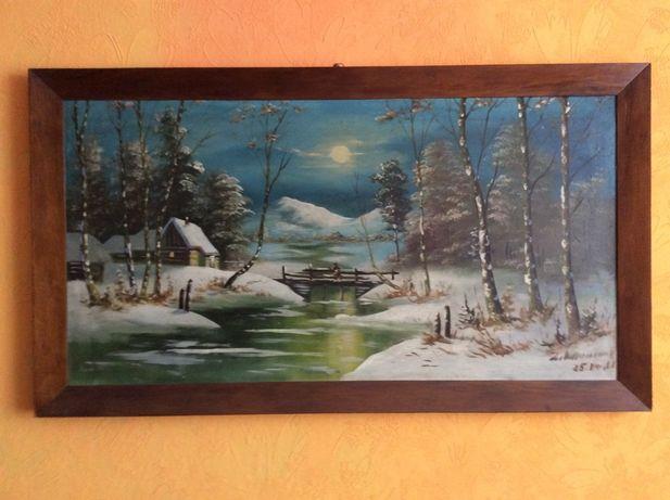 Obraz pejzaż górski-zimowy