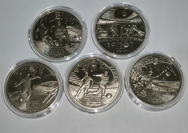 Набор из 5 монет Евро 2012 5 гривен памятные монеты Украины нбу