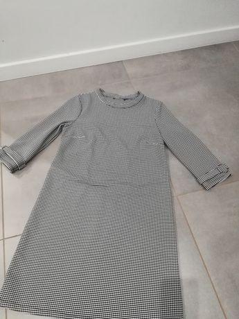 R. 10 M/L tunika,sukienka, bluzeczka damską biało czarna w krateczkę