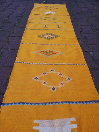 Kilim berberyjski Maroko vintage jedwab bawełna ręcznie tkany cactus