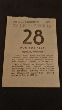 Kartka z kalendarza 28.10.1985