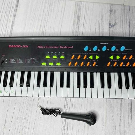 Детский синтезатор пианино микрофон, караоке