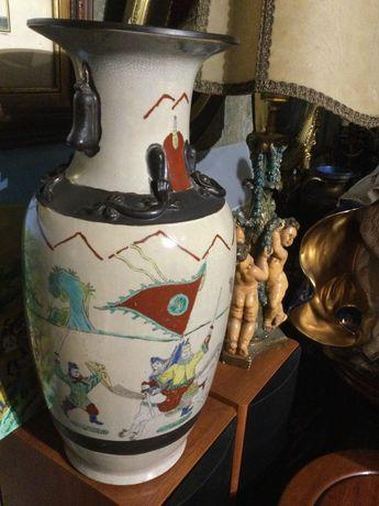 Jarrão em porcelana chinesa Dinastia Qing 45 cm Marcado