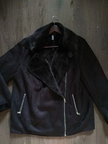 Черная дублёнка куртка косуха авиатор эко замша
