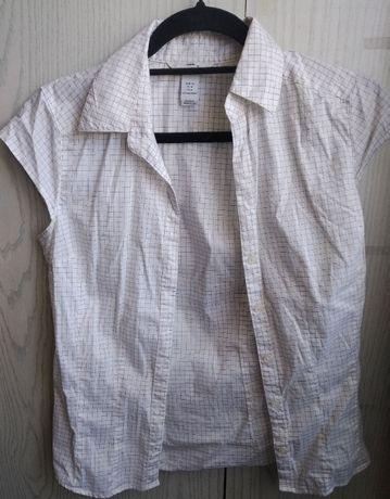 Biała elegancka bluzka z krótkim rękawem - rozmiar 36