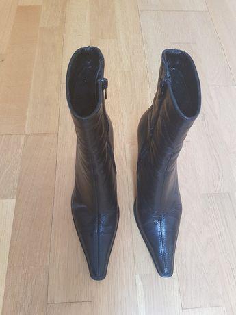 buty damskie krótkie czarne - skóra 36