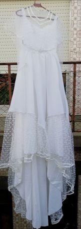 Vestido de noiva longo com cauda, estilo vintage- Tam S