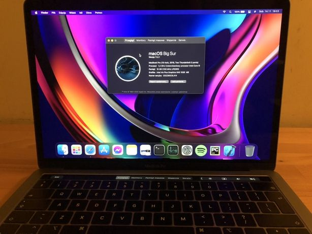 MacBook Pro 13,3, i5 1,4GHz, 16GB, 256GB, 2019