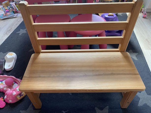 Drewiana ławeczka dla dziecka bukowa lite drewno