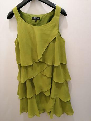 Sukienka Szyfonowa trapezowa falbany r. M-L