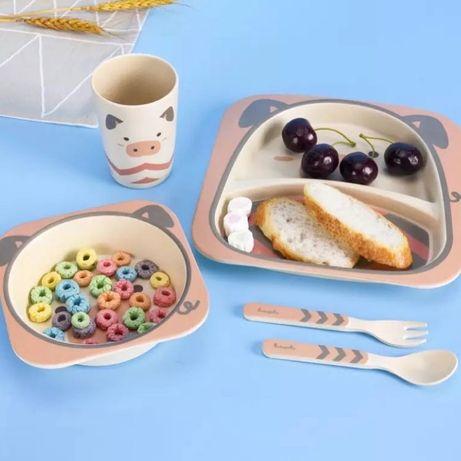 Бамбуковая посуда , набор детской посуды