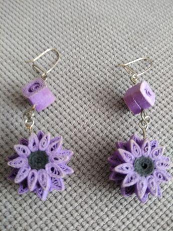 Kolczyki ręcznie robione kwiaty fioletowe