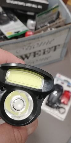 ZESTAW latarka lampka rowerowa LED tył +przód - soczewka i COB 5W