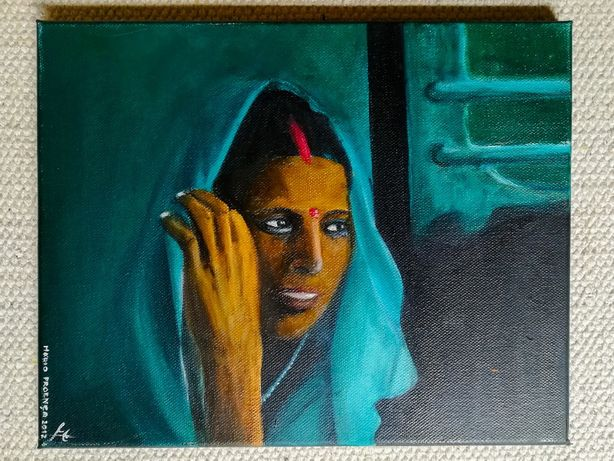 "Pintura óleo sobre tela ""The Indian train girl"" – Original MP 2012"