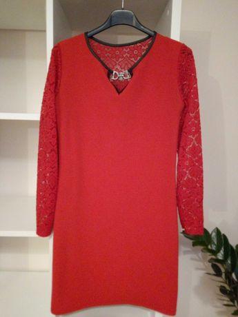 Czerwona sukienka S koronka