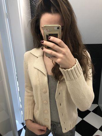 Sweterek 100% bawełna jasny kremowy kardigan S/M beżowy narzuta