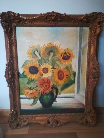 Obrazy słoneczniki w starej ramie