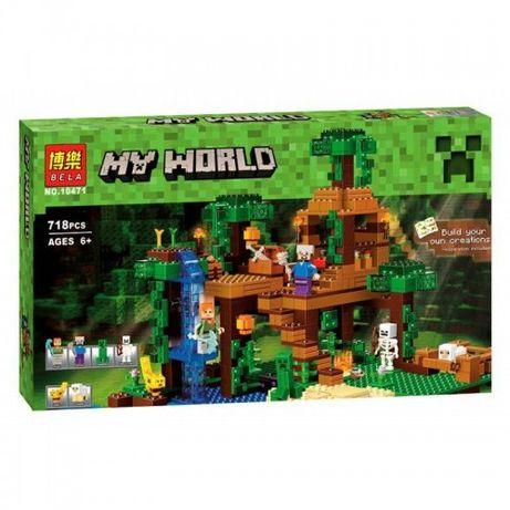 Конструктор Bela 10471 Домик на дереве в джунглях LEGO 21125 Minecraf