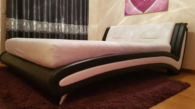 Łóżko sypialniane 160x200 eko-skóra czarno - białe
