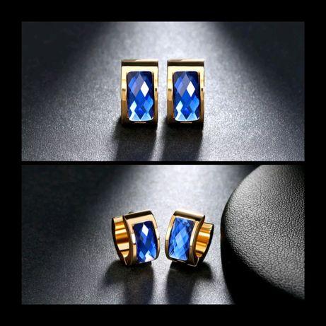Eleganckie Złote Kolczyki BLUE