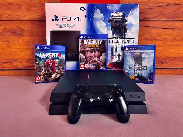 Sony PlayStation 4 1TB + kontroler + 3 gry. Stan idealny!
