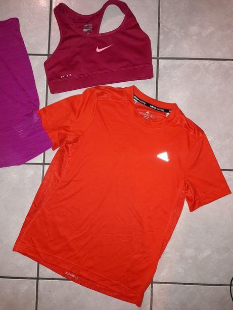 Nike, Adidas sportowe bluzki, stanik, r. XS, S, M