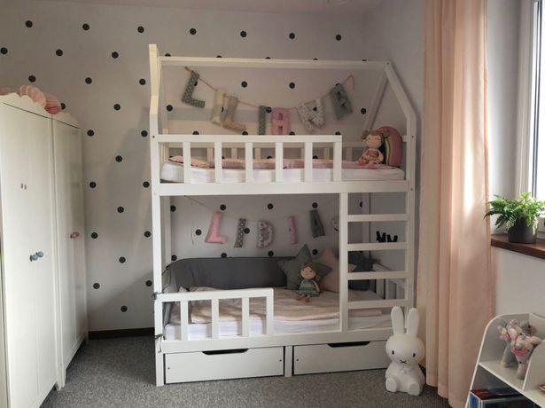 Łóżeczko piętrowe domek drewniane 160/80