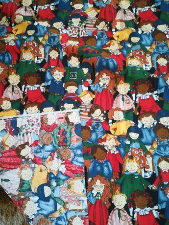 Materiał tkanina wzór dzieci 144 cm na 179 cm - cena za całość