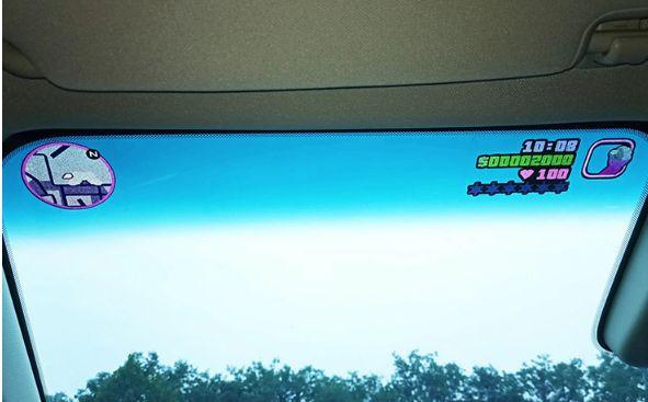 Naklejki GTA Vice City na szybe w samochodzie Mapa HP i broń Dla Gracz