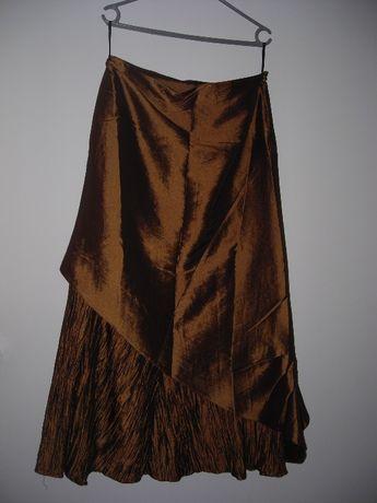 Długa brązowo-złota spodnica