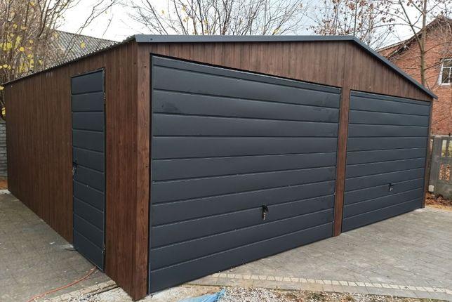 Garaż blaszak 6x5,8 drewnopodobny konstrukcja wzmocniona