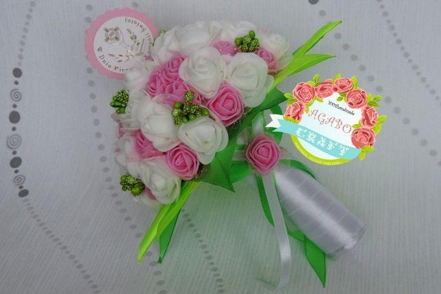 Bukiet bukiecik I komunia chrzest róże piankowe kwiaty wiąza