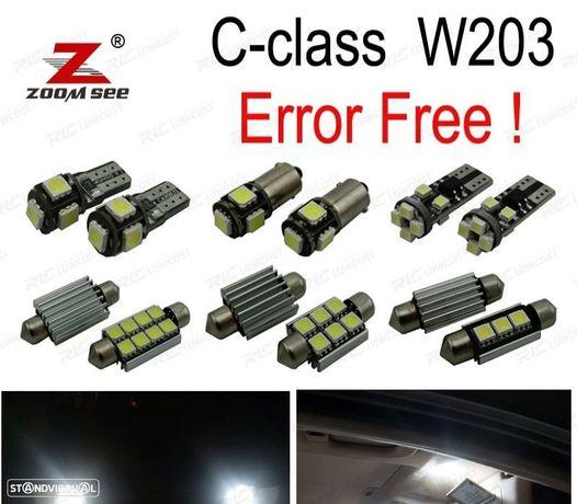 KIT COMPLETO DE 17 LÂMPADAS LED INTERIOR PARA MERCEDES CLASE C W203 C180 C200 C220 C230 C240 C280 C